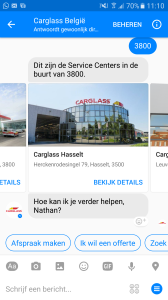 Carglass bedient haar klanten automatisch via de Facebook Messenger applicatie